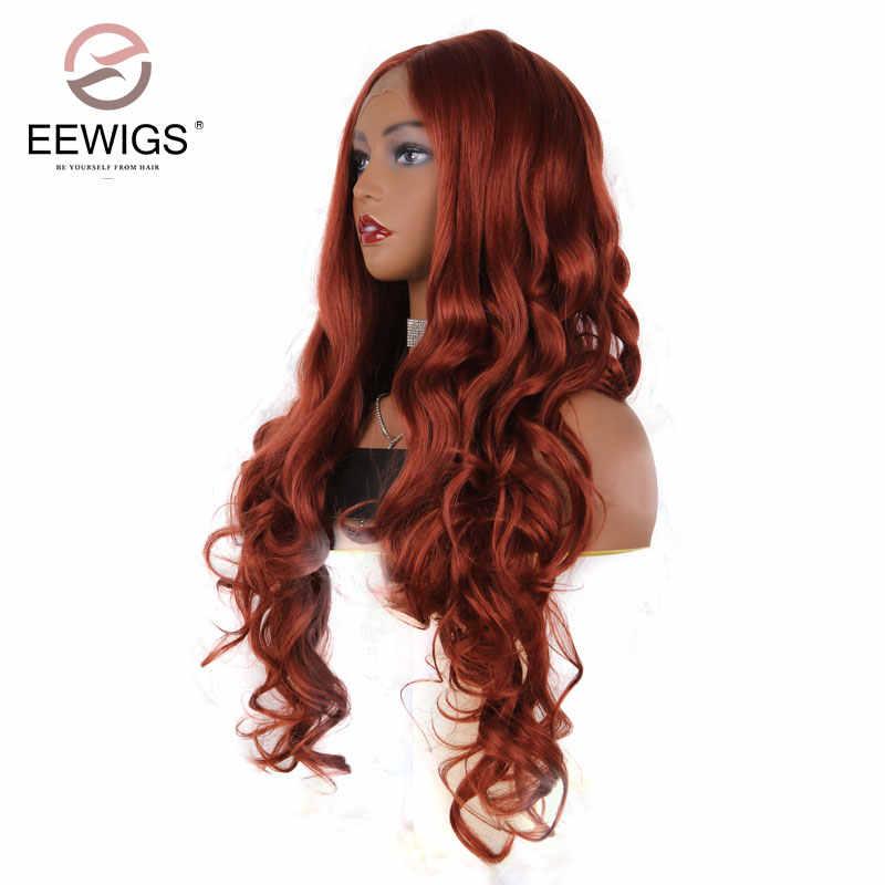 EEWIGS 26 дюймов Оранжевый Красный синтетический парик фронта шнурка Длинные свободные волны парики с натуральным волосяным покровом глубокая часть парики для черных женщин