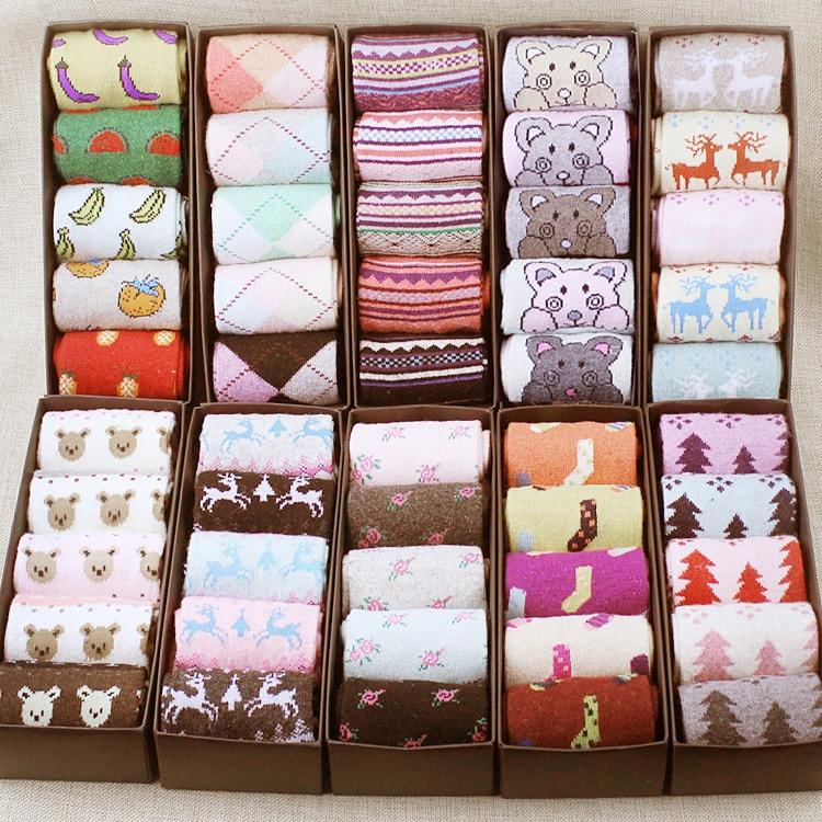 Big Sales Fashion Womens Sock Slippers 5PCS/LOT Korean Cute Kawaii Womens Socks Slippers Wool Warmer High Quality Lady Sock