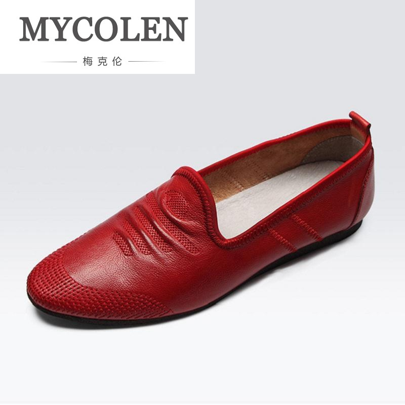 MYCOLEN Men Casual Shoes 2018 Summer Breathable Men Shoes Concise Soft Casual Flat Fashion Red Leather Men's Loafers Shoes men leather shoes casual 2017 spring summer fashion shoes for men designer shoes casual breathable mens shoes comfort loafers