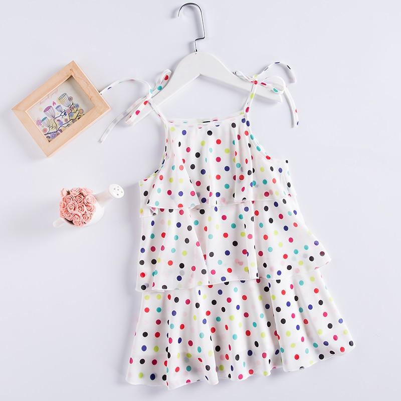 все цены на Summer children princess kids 4Y-14Ycm girls holiday Tiered dress chiffon Polka Dot beach slip dress baby girl Layered dresses