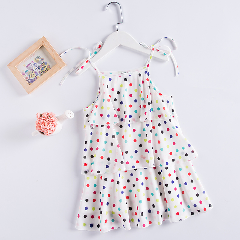 Summer children princess kids 4Y-14Ycm girls holiday Tiered dress chiffon Polka Dot beach slip dress baby girl Layered dresses