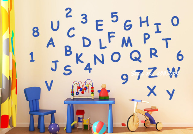 Letters Of The ABC And Numbers 0 To 9 DIY Self Adhesive Wall Stickers For  Kids Rooms Art Vinyl Decal In Different Colors LA323