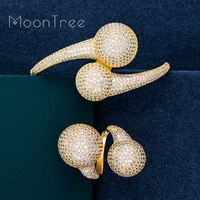 MoonTree Luxury Big Ball Full Micro Cubic Zirconia Party Wedding Saudi Arabic Dubai Baguette Bracelet Ring Fashion Jewelry