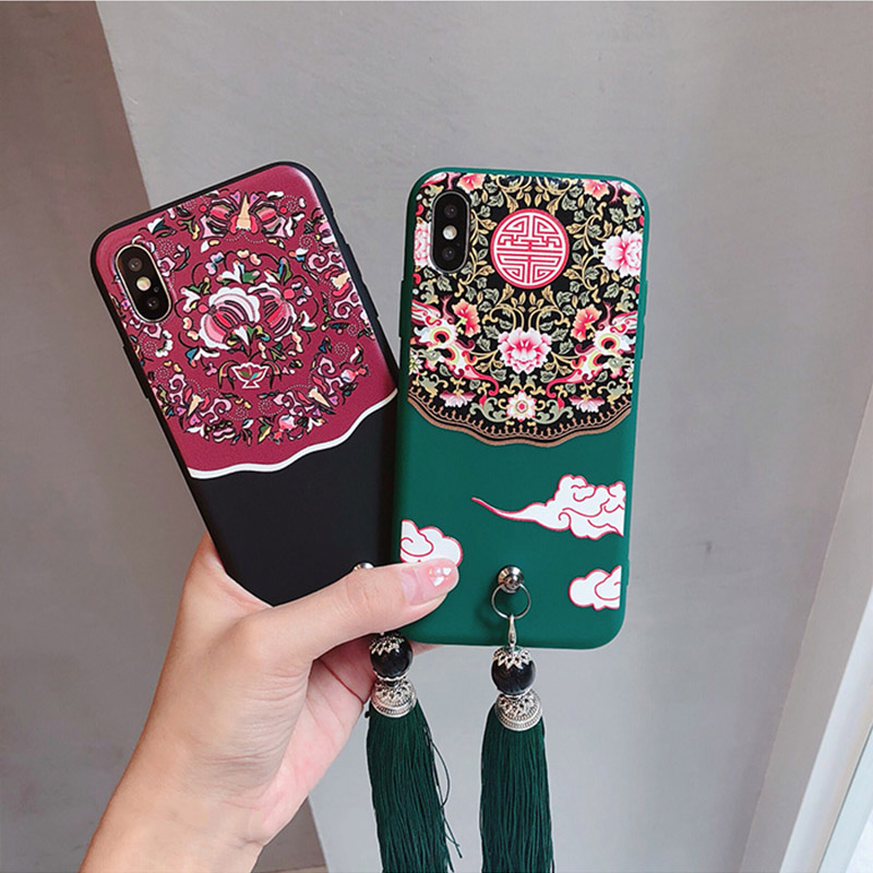 Vintage Ethnic Style Phone Case For iphone 6 6s 7 8 plus Case For iphone X Back Cover Fashion Tassel Flowers Printed Soft Cases