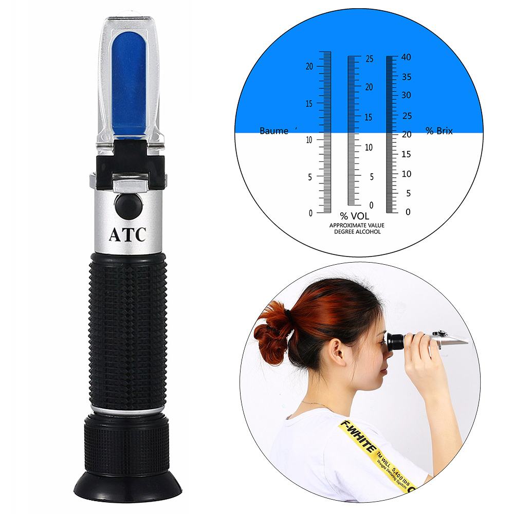 High quality 3 In 1 hand held Grape & Alcohol Refractometer for winemakers has three scales(0-25%Vol , 0-40%Brix,0-22Baume) ...