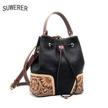 цены на SUWERER 2019 New Women Genuine Leather bags luxury handbags famous brand Hand carved Luxury Bucket bag leather shoulder bags  в интернет-магазинах