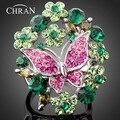 Chran, новинка, розовая бабочка, кольца с зеленым австрийским кристаллом для женщин, серебряный цвет, оптовая продажа, ювелирные аксессуары, лучшие подарки - фото