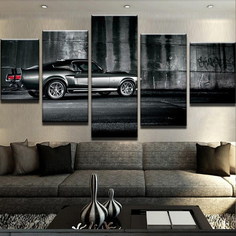 Hot sell 5 panels cool luxury black sports car canvas paintings printing poster for boys room wall decals