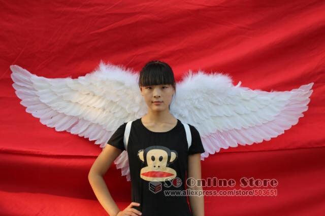 Belle ailes d'ange blanc pour l'exposition d'étape Modèles podiums des défilés Tir accessoires fait main caft fée ailes EMS livraison gratuite