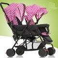 Gêmeos Carrinhos de Dobramento de alta Qualidade, moda Portátil Bebê Carrinho de Bebé, duplo-assento de Carro para 0-36 Meses Do Bebê Infantil Carrinho De Bebê