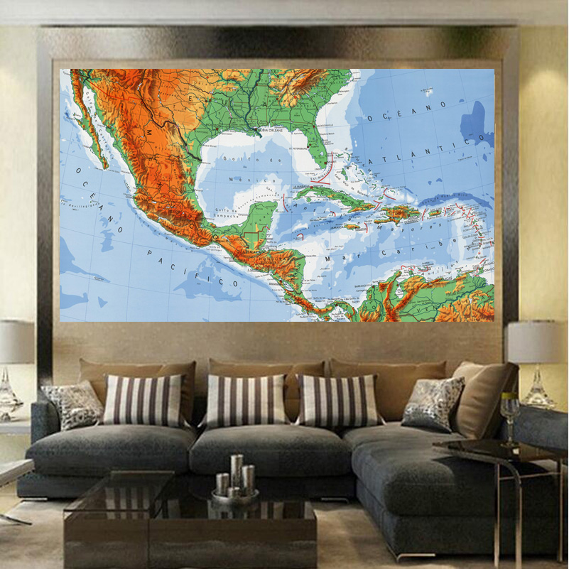 Captivating Lowest Price Colors South America Map Fashion Living Room Paintings Print  On Canvas Oil Painting No Framed Wholesale