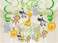 30 stk Fødselsdagsindretning Kids Zoo Safari Jungle Animal Folie Spiral Swirls Banner Bunting Garland Streamer Baby Shower