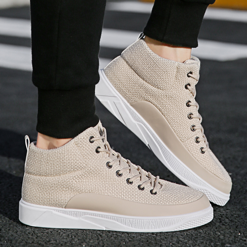 YRRFUOT Casual Shoes Men Trendy High Top Shoe Comfortable Youth Hombre Fashion Sneakers Canvas Lace Up Trend Mens Walking Shoes e lov women casual walking shoes graffiti aries horoscope canvas shoe low top flat oxford shoes for couples lovers