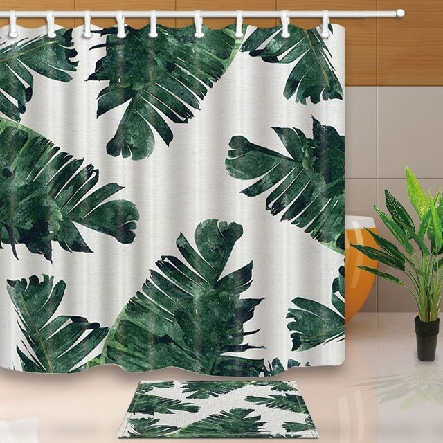 Leaves Decor Tropical Rainforest Banana Leaf Green Plants White Backdrop Polyester Fabric Shower Curtain Suit Doormat Bath Rugs