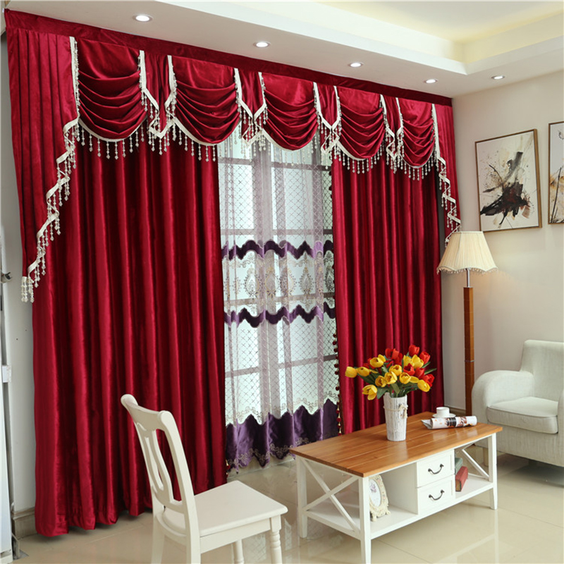 American Style Burgundy Curtains For Living Room Stage Italian Velvet Curtain Hotel Bedroom Window Pelmet Flannel Drapes