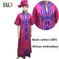 Новая мода Базен принес Африканского хлопка платок 7 минут рукав вышивка платье халаты (бесплатная доставка) S2346