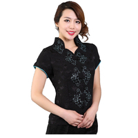 Hot New Fashion Black Female Flower Blouse Chinese Style Women Vintage Embroidery Shirt Summer Casual Tops