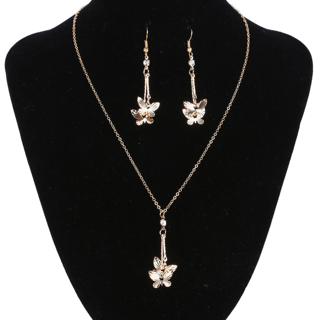 2017 New Fashion Rose Gold color Jewelry Sets Crystal Butterfly Drop