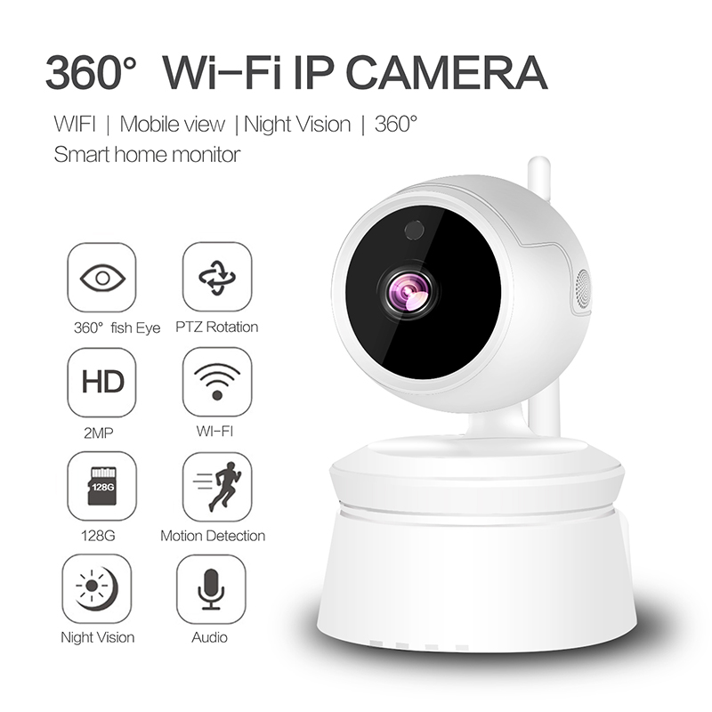 Wireless IP Camera 1080P Wi-Fi Surveillance Two-way Camera Support inserted 128GB MicroSD card