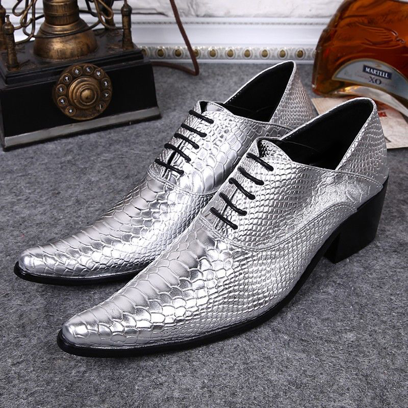 Plus Size Silver Color Pointed Toe Man Modern Oxfords Alligator Genuine Leather High Heels Men's Formal Dress Party Shoes SL342 plus size 2016 new formal brand genuine leather high heels pointed toe oxfords punk rock men s wolf print flats shoes fpt314