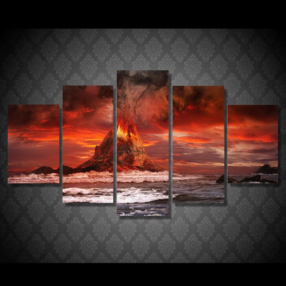 Hd Printed Mountains Volcano Sea Ocean Painting Canvas Print Room