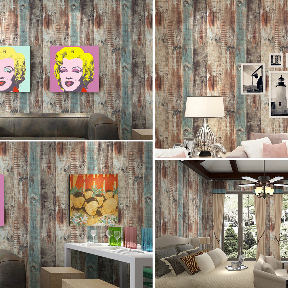 Kitchen Wall Groupings: Q QIHANG American Style Vintage Woods Panel Wallpaper