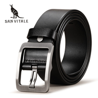 SAN VITALE 100 Cowhide Genuine Leather Belts For Men Brand Strap Male Pin Buckle Fancy Vintage