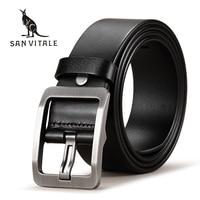 SAN VITALE 100 Cowhide Genuine Leather Belts For Men Brand Strap Male Pin Buckle Fancy Vintage
