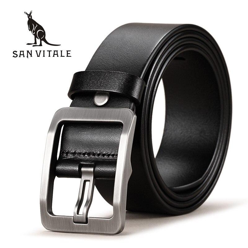 SAN VITALE 100% cinturones de cuero genuino de piel de vaca para hombres correa de marca hebilla de Pin masculino Fancy Vintage Vaqueros Cintos Freeshipping