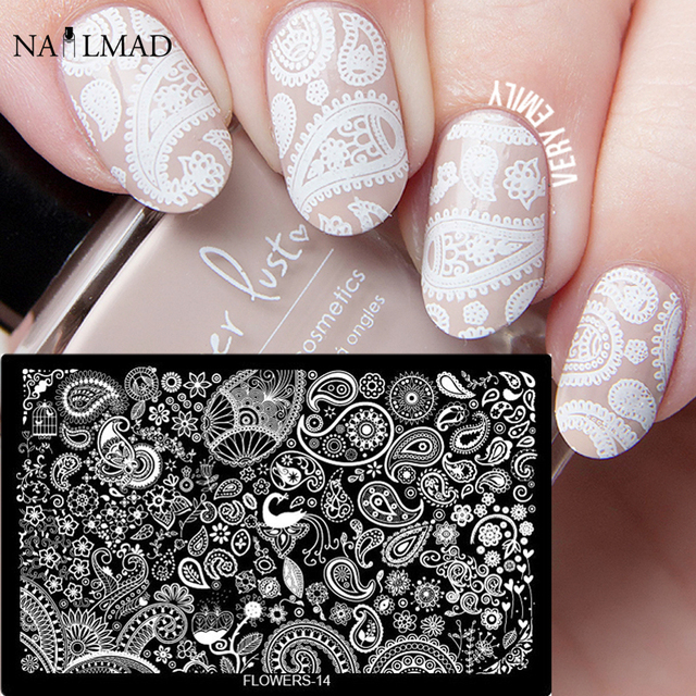 1pc Mandala Paisley Nail Stamping Template Flowers Lace Plate Pea Feather Heart Stamp