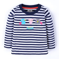 Niñas de dibujos animados de aves ratón rayas camiseta de los niños de manga larga jersey de abrigo de niños de alta calidad niños de algodón desgaste size1-6years