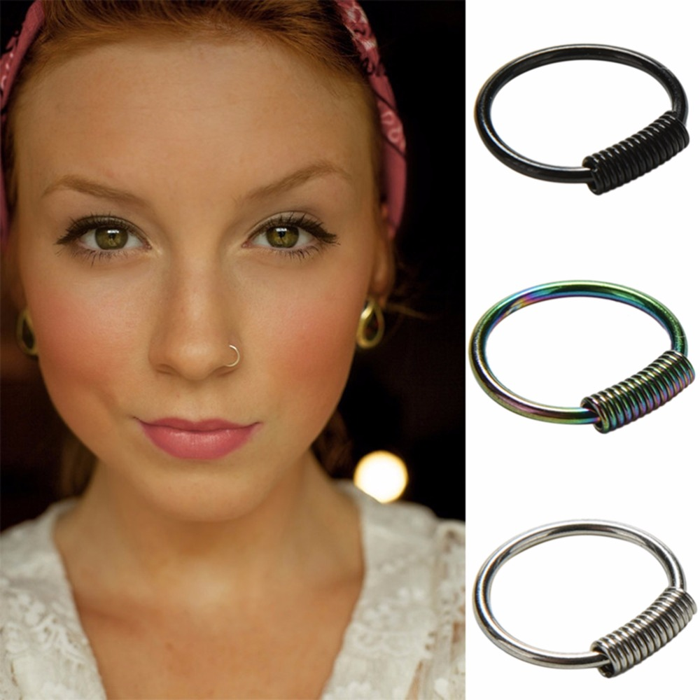 Dia 0.8cm Spring Wrap Captive Piercing Ring Real Pierced Septum Ring Nose Ear Catilage Tragus Helix Clicker Body Jewelry