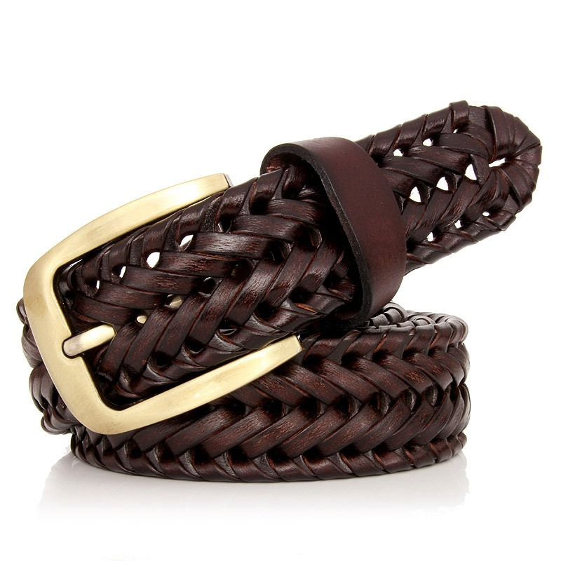 Mens Leather Belt Faux Leather Braided Woven Korean Style Casual All-matching Simple Fashionable Tide Belts 5 Colors Apparel Accessories