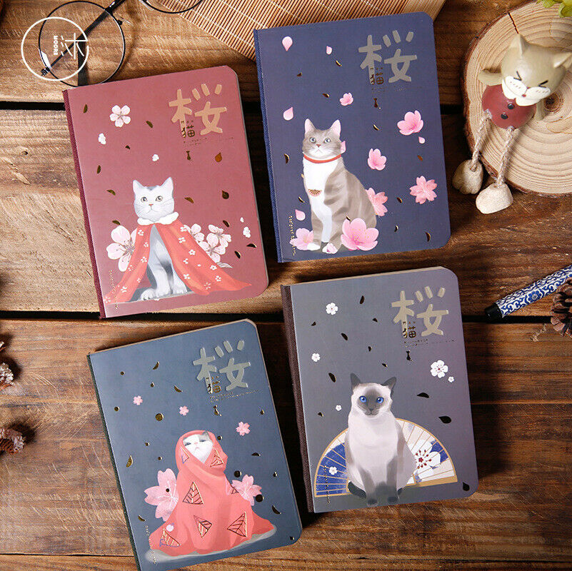 Japanese Original Hardcover Small Cat Cherry Series Creative Handbook Notebook