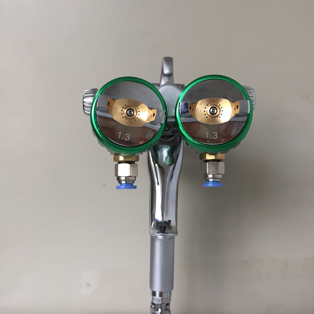 цена на SAT1189 pneumatic chemical paint gun airbrush double nozzle air gun double nozzle pressure feed spray gun for painting walls