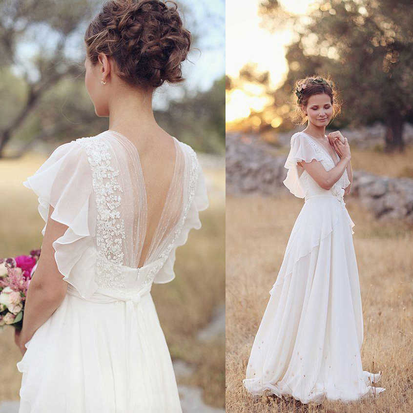 Bohemian Hippie Style Wedding Dresses A Line Beach Wedding Gowns