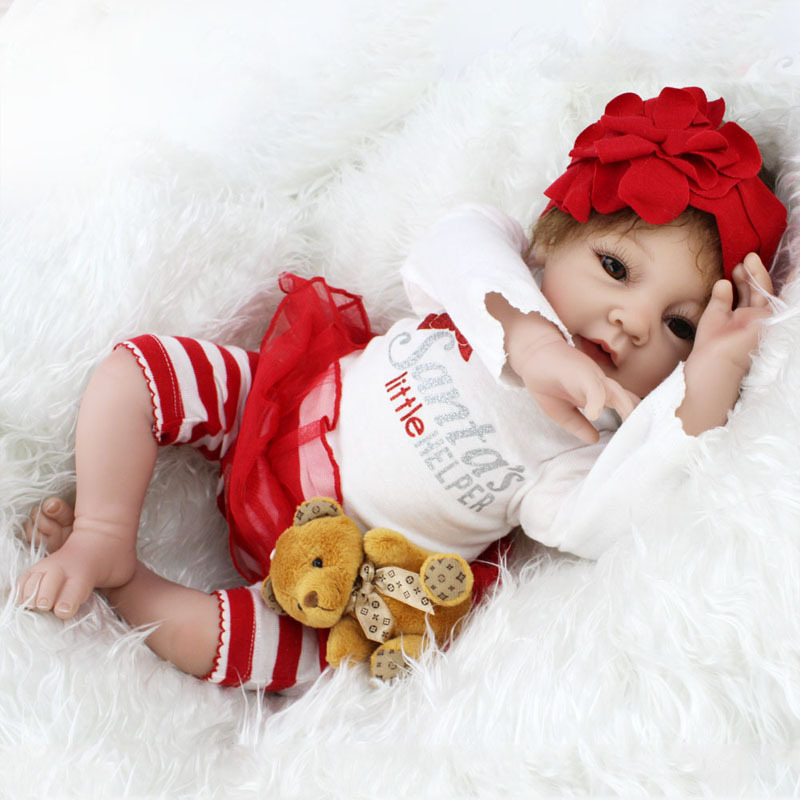 New 55cm Realistic Doll With Beautiful Dress Children's Model Toy Reborn Baby Doll Lifelike Alive Girl Doll Dropshipping 042