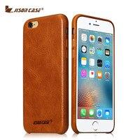 כיסוי טלפון עור אמיתי Jisoncase עבור iPhone 6/6 s/6 plus/6 s טלפון בתוספת בציר מקרה עבור iPhone חצי עטוף אנטי דפיקה