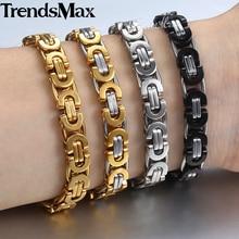 Personalized 7 9 11mm Men s Bracelet Stainless Steel Byzantine Link Chain Gold Silver Black Bracelets