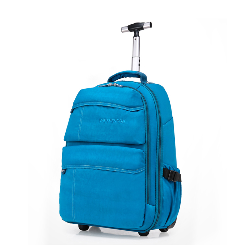 Single trolley backpack adult double shoulder strap round trolley travel computer bag canvas school bag luggage