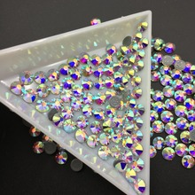 High Quality Crystal AB Hotfix Rhinestone Glass For Colorful Nail Flat Drill Round Magic Latin Dance Clothes DIY
