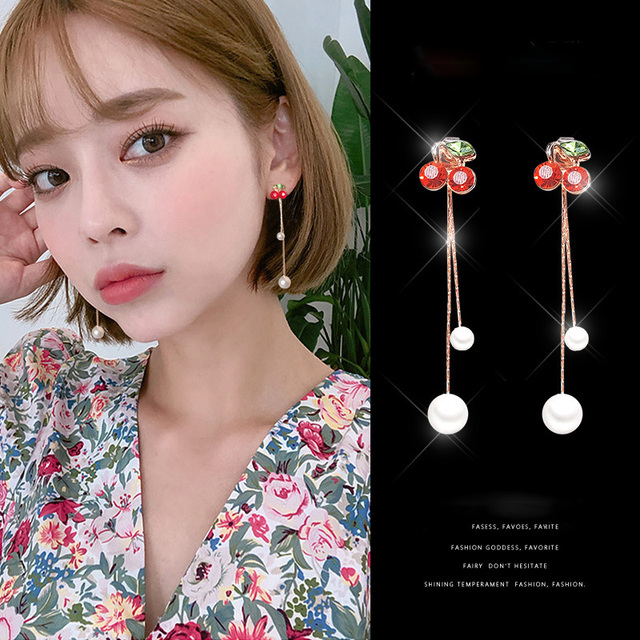 LE SKY Fashion Red Crystal Pearl Cute Cherry Earrings Fruit Drop Earrings For Women Girl Vacation.jpg 640x640 - LE SKY Fashion Red Crystal Pearl Cute Cherry Earrings Fruit Drop Earrings For Women Girl Vacation and Leisure Jewelry