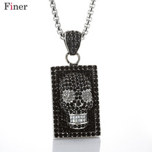 лучшая цена Tattoo Long Chain Square Skull Pendant Necklace 316L Stainless Steel Necklace Charm Men Cool Punk Rock Jewelry