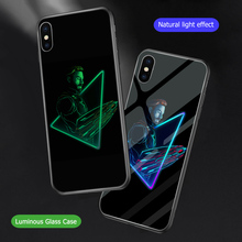 ciciber Marvel Iron Man Luminous Glass Case for iPhone 7 8 6 6S Plus Back Shell Cover 11 Pro Max X XR XS Coque