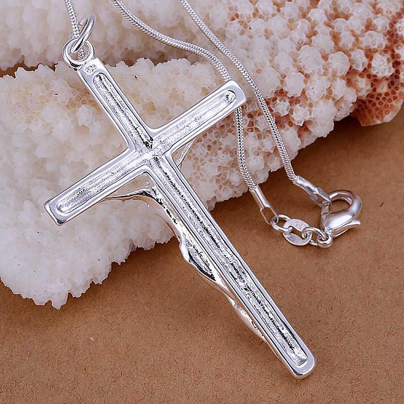 แฟชั่นสร้อยคอ 925 เงินสเตอร์ลิงพระเยซู Cross สร้อยคอจี้ Charms เครื่องประดับสำหรับของขวัญผู้หญิงผู้หญิง BH