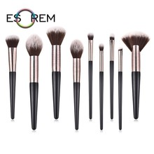 ESOREM 9 Pcs Wiredrawing Tube Makeup Brushes Synthetic Brush Cosmetics Tapered Highlight Eyeliner Pincel Maquiagem 070102