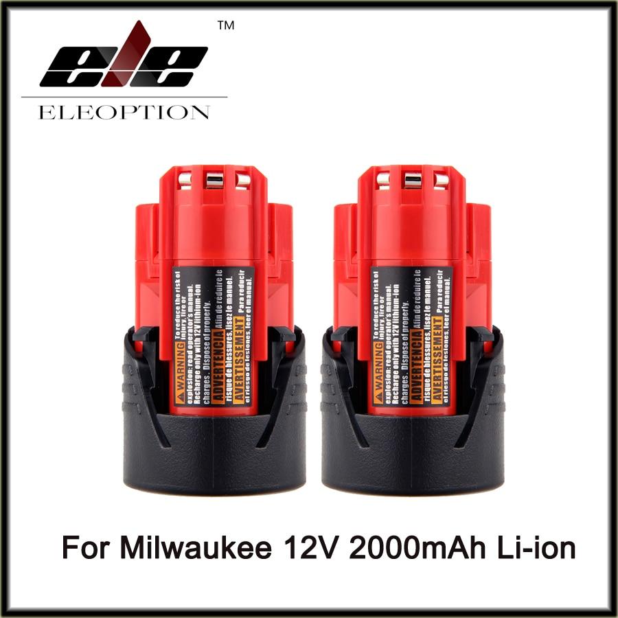 2 pcs Eleoption Power Tool Battery For Milwaukee M12 12V 2000mAh Li-ion Lithium Rechargeable Spare Battery 48-11-2401 3pcs 12v lithium ion 1500mah power tool rechargeable battery with charger replacement for milwaukee m12 48 11 2401 48 11 2402