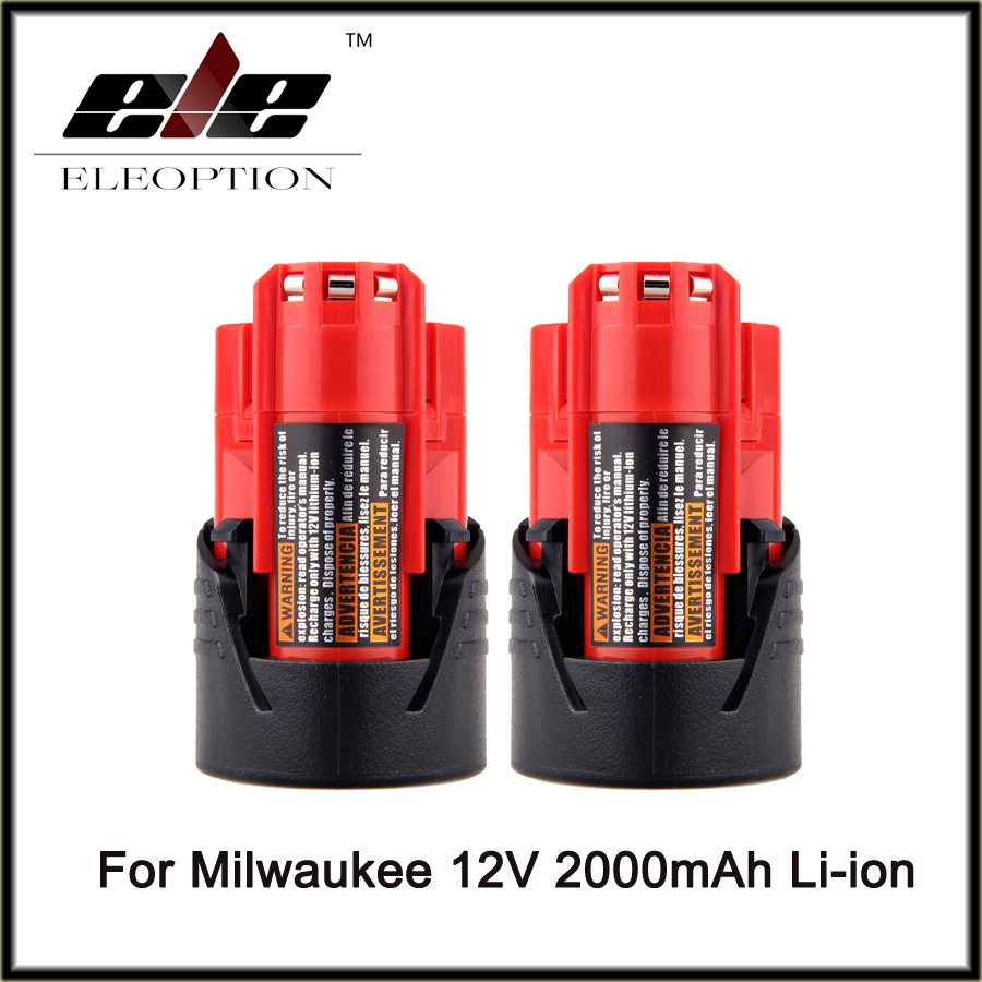 2 pcs Eleoption Power Tool Battery For Milwaukee M12 12V 2000mAh Li-ion Lithium Rechargeable Spare Battery 48-11-2401