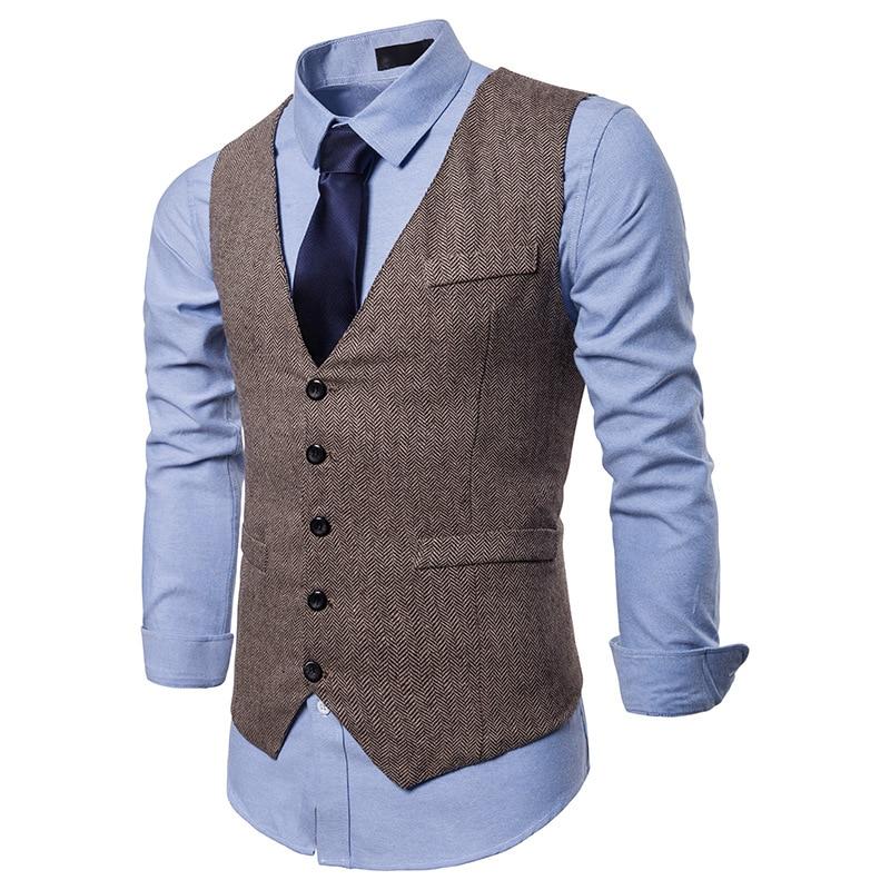 Vest Waistcoat V-Collar Business Casual Autumn New Brand Carelecos Para Hombre High-Quality