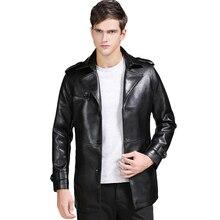 New Mens Pu Leather Jacket Men Parka Outwear Slim Fit Motorcycle Jacket Blazer Coat Black Zipper Thick Winter Jackets Mens